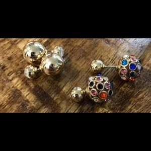 Jewelry - 2 Pairs Front/Back Stud Multi Colored Earrings